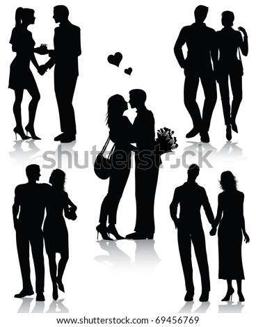 Romantic couples silhouettes (also available jpg version) - stock vector