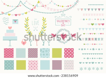 Romantic decor set. 15 garland lights vector brushes, decor elements and 12 seamless patterns. Perfect for valentines day card and wedding invitation. Isolated. Vector eps 10 - stock vector