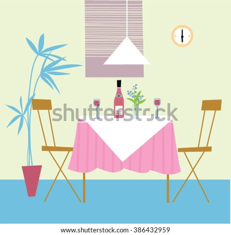 Romantic dinner for two in restaurant. Table for with vine two in restaurant. Table for two person illustration. Restaurant interior.