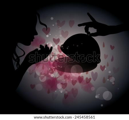 Romantic dinner for woman / Woman Silhouette with plate full of love - stock vector
