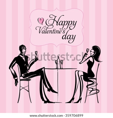 Romantic dinner loves . Sketch drawing vector. Valentines day. Can be used for banners, cards, covers, etc. - stock vector