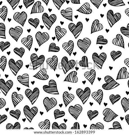 Romantic doodle hearts cute seamless pattern - stock vector