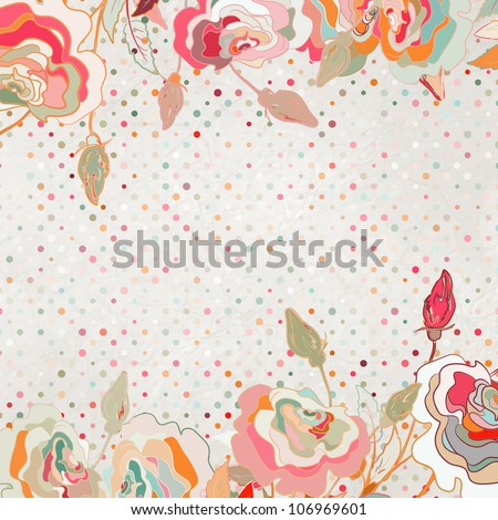 Romantic elegant floral background with vintage roses. And also includes EPS 8 vector - stock vector
