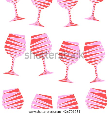 Romantic elegant seamless pattern of colorful wine glasses in geometric style. Mosaic vector illustration of wine stemware. Vector illustration for menus, special occasions, wrapping, cards. - stock vector