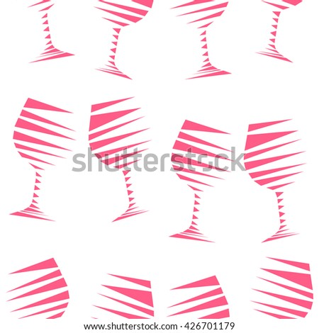 Romantic elegant seamless pattern of pink wine glasses in geometric style. Mosaic vector illustration of wine stemware on white background. Vector illustration for menus, special occasions, wrapping. - stock vector