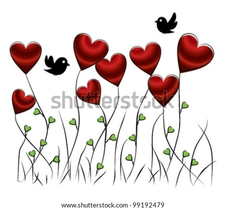 romantic floral background with birds and hearts, vector illustration - stock vector