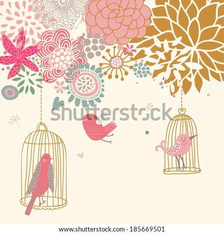 Romantic floral background with cartoon bird. Freedom concept card in cartoon vector