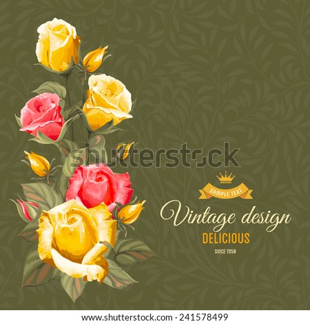 Romantic floral background with vintage flowers of rose  - stock vector