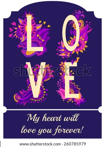 Romantic floral card in bright colors. Love word made of flowers and birds. Wedding invitation design. Valentines day postcard. Follow your heart concept card - stock vector