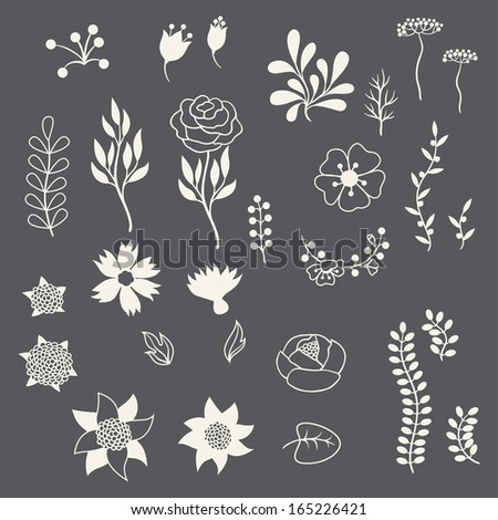 Romantic floral elements various flowers in retro style. - stock vector