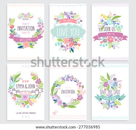Romantic Floral hand drawn card set. Vector illustration. - stock vector