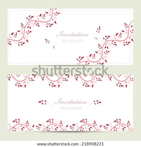 romantic floral invitation cards for your design - stock vector