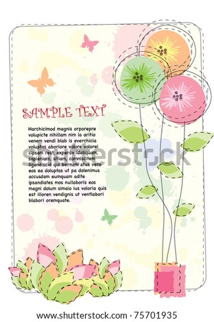 Romantic floral layout design - stock vector