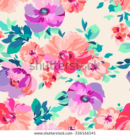 romantic floral ~ seamless background - stock vector