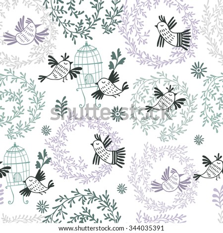 Romantic floral seamless pattern with bird. - stock vector