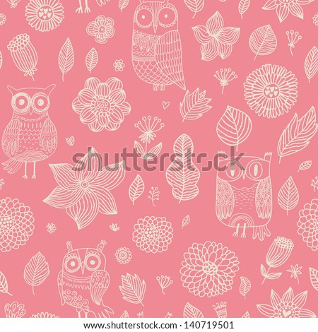 Romantic floral seamless pattern with cute owls and vintage flowers. Vector spring background can be used for wallpapers, pattern fills, web page backgrounds, surface textures. - stock vector