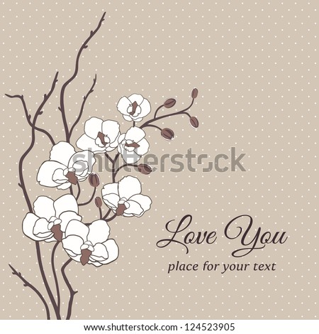 Romantic floral vector card with orchid flowers - stock vector