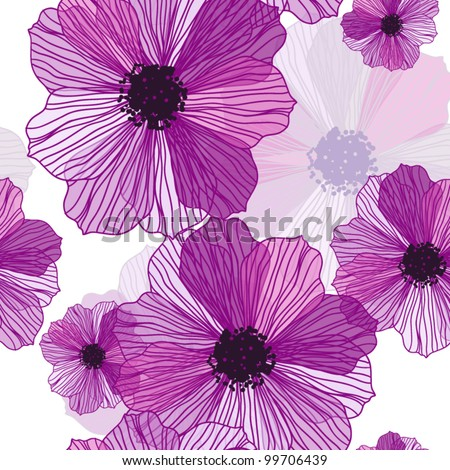 Romantic Flower  Background seamless retro floral pattern - stock vector