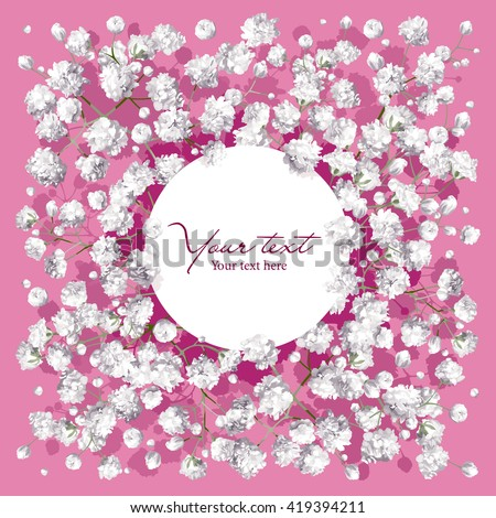 Romantic flower invitation or greeting card for weddings, Valentine's Day, sales and other events with little white flowers and round label. - stock vector