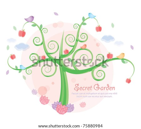 Romantic garden design - stock vector
