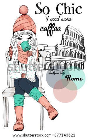 romantic girl/ hand drawing girl/ watercolor girl/ illustration girl/ t-shirt print/ fashion girl/ cute girl/ happy girl/ postcard girl/ valentine girl/ colorful girl/ poster girl/ beautiful girl - stock vector