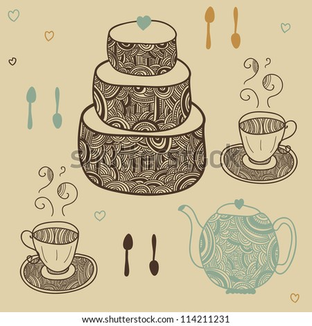 romantic graphic tea party set with cake