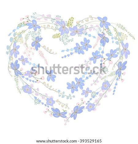 Romantic heart made of blue spring flowers. - stock vector