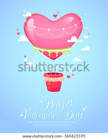 Romantic heart shaped air balloon retro postcard for Saint Valentine's Day  - stock vector