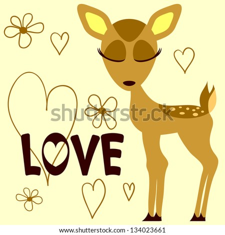 Romantic illustration of a cute fawn - stock vector