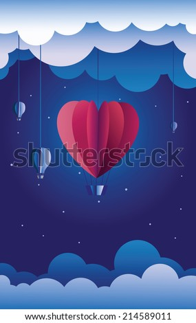 Romantic illustration - paper crafted theater: hot air balloon in the shape of a heart flying in the night sky. - stock vector