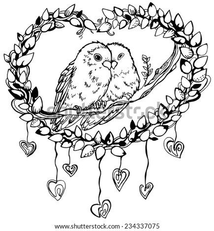 Lovebirds drawing stock images royalty free images vectors shutterstock - Dessin perruche ...