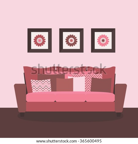 Romantic interior design. Living room with comfortable sofa, cushions and set of paintings. - stock vector