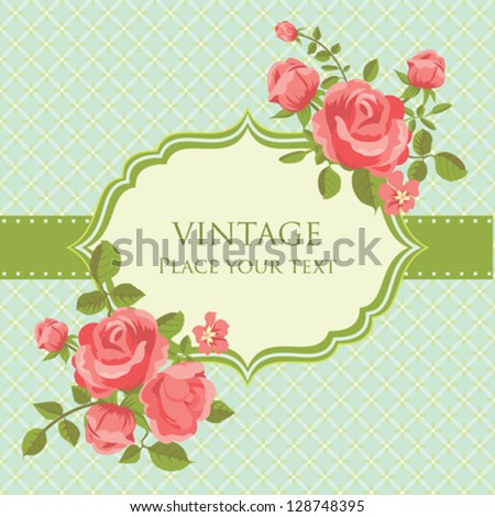 Romantic invitation card with blooming roses retro style - stock vector