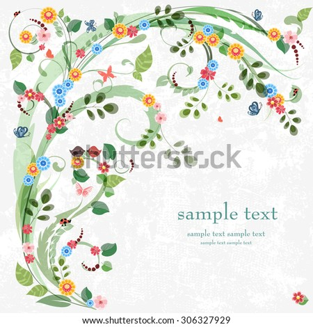 Romantic invitation card with floral elements for your design.  - stock vector