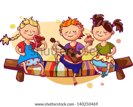 Romantic kids party vector illustration. Small boy playing guitar and two sweet girls eating cakes - stock vector