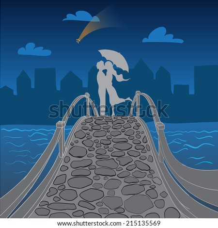 Romantic kiss of a lovely couple in the bridge in city - stock vector