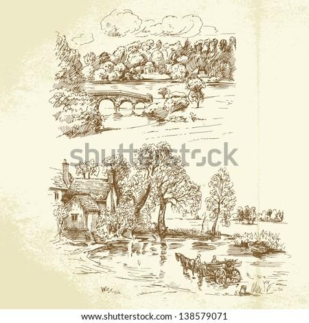 romantic landscape - stock vector