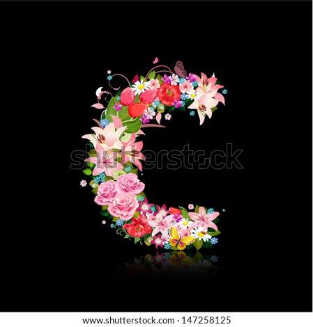 Romantic letter of beautiful flowers C - stock vector