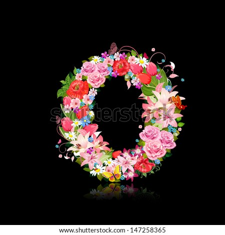Romantic letter of beautiful flowers O - stock vector