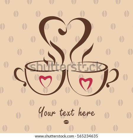 Romantic love dating icon with two coffee cups. Vector illustration - stock vector