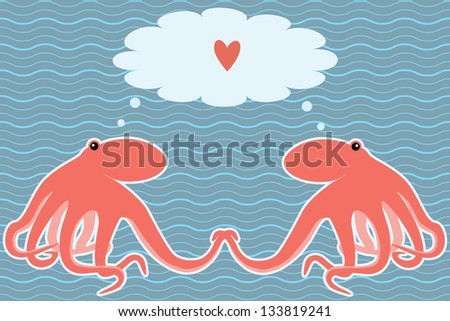 Romantic marine card with two octopuses - stock vector