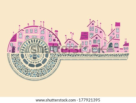 Romantic medieval buildings like a key to the development city life. Vector hand drawing metaphor for childish fairytale. - stock vector