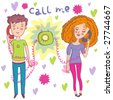 romantic mood couple of lovers communicating by phone - cartoon vector - stock photo
