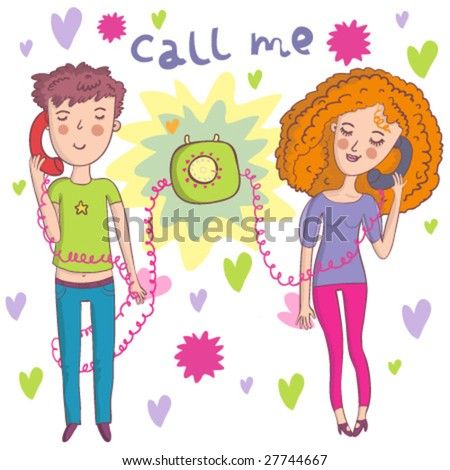 romantic mood couple of lovers communicating by phone - cartoon vector - stock vector