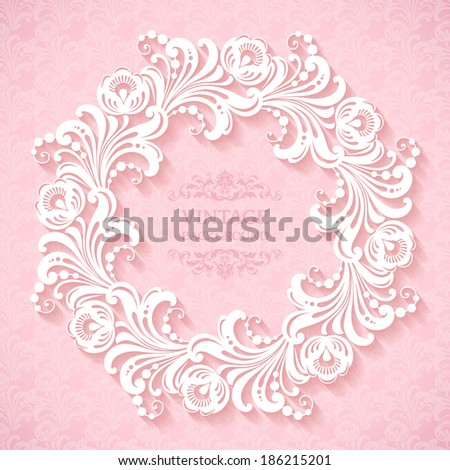 Romantic ornamental template with frame and pattern  - stock vector