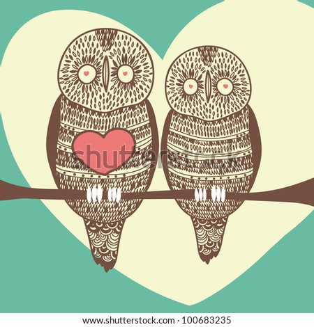 romantic owl couple in love on tree branch - stock vector