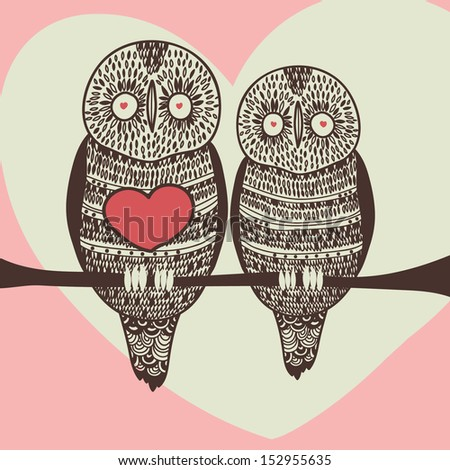 romantic owl couple on tree branch - stock vector