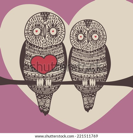 romantic owls in purple - stock vector