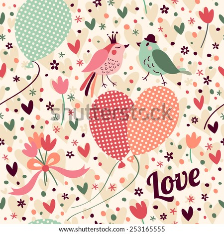 Romantic pattern with birds, balloons, hearts and flowers. Seamless pattern can be used for wallpapers, pattern fills, web page backgrounds, surface textures. - stock vector