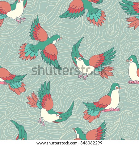 Romantic pattern with birds, on blue wave background. Seamless pattern can be used for wallpapers, pattern fills, web page backgrounds, surface textures.